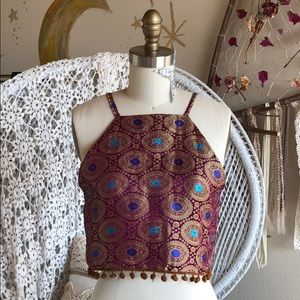 Tops - Good vibes purple embroidered boho top